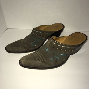 Cole Haan Western Suede Mules Size 8.5